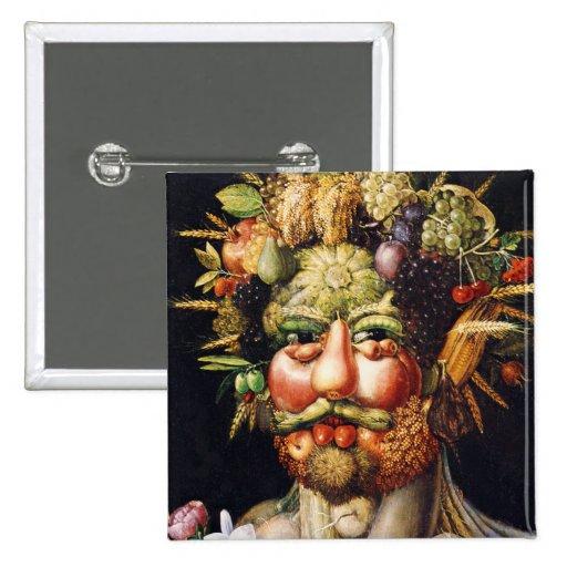 Botón: Vertumnus (retrato de Rudolf II) Pin Cuadrado