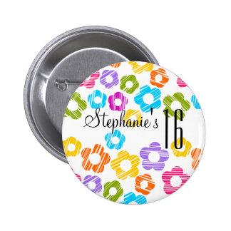 Botón vibrante lindo del dulce dieciséis de las fl