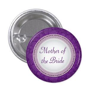 Botón violeta barroco del papel del boda de la pin redondo de 1 pulgada