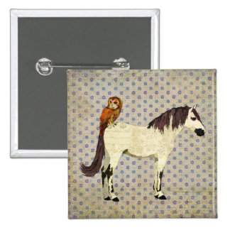 Botón violeta del caballo y del búho pin
