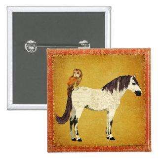 Botón violeta del caballo y del búho pins