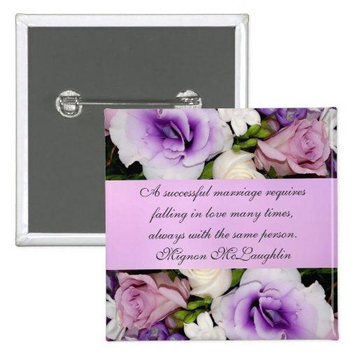Botón violeta del ramo del boda pin