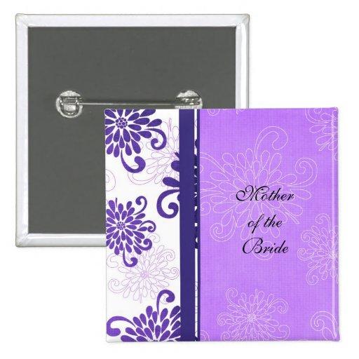 Botón violeta floral de lujo del damasco