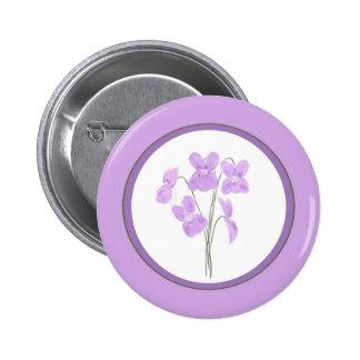 Botón violeta salvaje del ramo de la acuarela pin