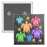 Botones apenados de las tortugas del arco iris pins