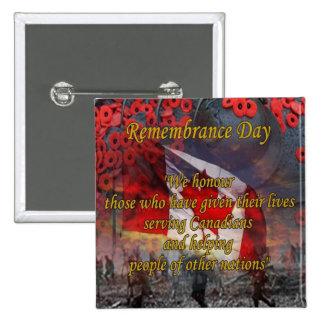 Botones canadienses del día de la conmemoración pin cuadrado