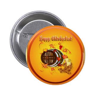 Botones Cerveza-Felices grandes de Oktoberfest Pin Redondo De 2 Pulgadas