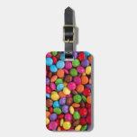 botones coloreados multi frescos del chocolate etiquetas de equipaje