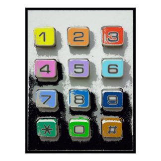 botones coloridos del teléfono póster