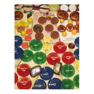 Botones coloridos del vintage tarjetas postales