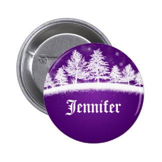 Botones conocidos de la púrpura de las etiquetas d pin redondo de 2 pulgadas