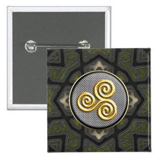 Botones cuadrados decorativos de oro de Triskele Pin Cuadrado