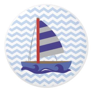 Botones de cerámica de vela del zigzag azul pomo de cerámica