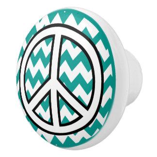 Botones de cerámica del zigzag de la turquesa del pomo de cerámica