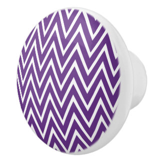 Botones de cerámica púrpuras del modelo de zigzag pomo de cerámica
