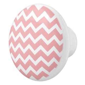 Botones de cerámica rosados del modelo de zigzag pomo de cerámica