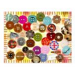 Botones de costura coloridos postal
