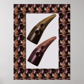 Botones de cuerno orientales del ARTE Posters