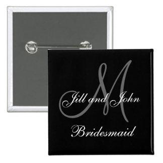 Botones de encargo del banquete de boda de la dama pin cuadrado