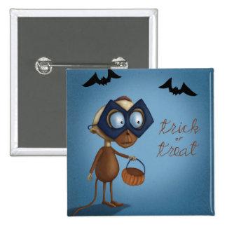 ¡Botones de Halloween del truco o de la invitación Pin Cuadrado