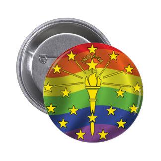 Botones de la bandera del orgullo gay de Indiana Pin Redondo De 2 Pulgadas