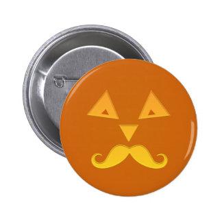Botones de la calabaza del bigote de Halloween Pin Redondo De 2 Pulgadas