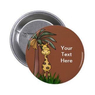 Botones de la jirafa pin redondo de 2 pulgadas