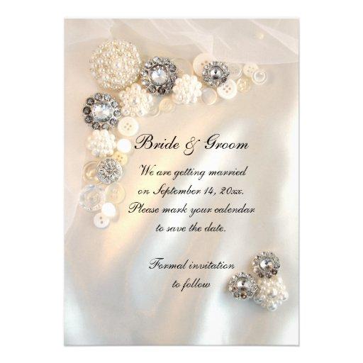 Botones de la perla y del diamante que casan reser anuncio personalizado