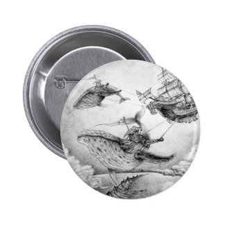 """""""Botones de las ballenas del viento"""" Pin Redondo De 2 Pulgadas"""