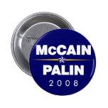 Botones de McCain Palin, botones de John McCain de Pin Redondo De 2 Pulgadas