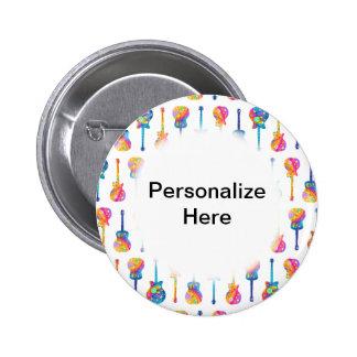BOTONES de Personalizable de las GUITARRAS Pin Redondo De 2 Pulgadas