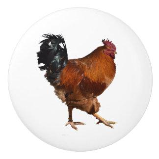 Botones de puerta del gallo pomo de cerámica