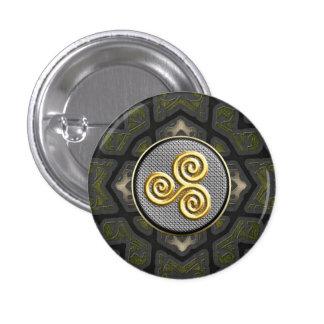 Botones decorativos de oro de Triskele Pin Redondo De 1 Pulgada
