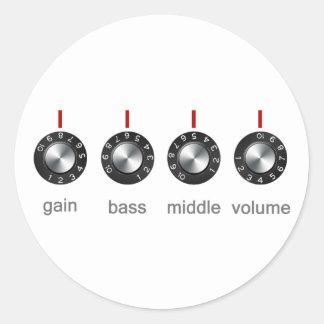 Botones del amperio de la guitarra etiqueta redonda