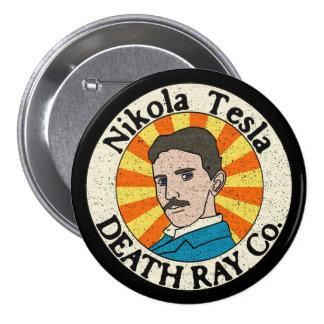 Botones del Co. del rayo de muerte de Nikola Tesla Pin Redondo De 3 Pulgadas
