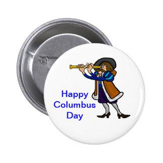 Botones del día de Colón Pin Redondo De 2 Pulgadas