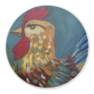 Botones del gallo pomo de cerámica