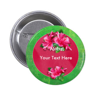 Botones del hibisco del rosa de la hawaiana de Lua Pin Redondo De 2 Pulgadas