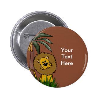 Botones del león pin redondo de 2 pulgadas