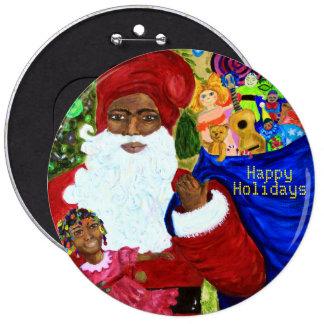 Botones del navidad - regalos negros de Papá Noel Pin Redondo De 6 Pulgadas