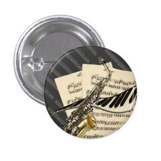 Botones del saxofón y de la música del piano pin redondo de 1 pulgada