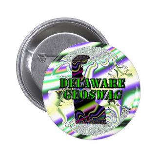 Botones del tesoro de los regalos de Delaware Geos Pin Redondo De 2 Pulgadas