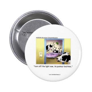 Botones divertidos: Vacas: Hora de acostarse de Pa Pin Redondo De 2 Pulgadas