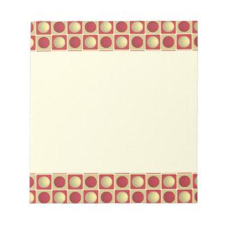 Botones en libreta del rojo de los cuadrados blocs de papel