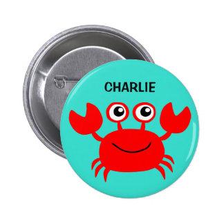 Botones felices del personalizado del cangrejo pin redondo de 2 pulgadas