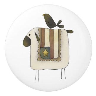 Botones lindos primitivos del cajón de las ovejas pomo de cerámica