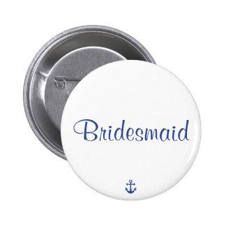 Botones náuticos del boda de la dama de honor pins