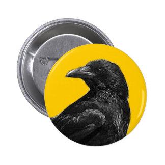 Botones negros del cuervo pin redondo de 2 pulgadas
