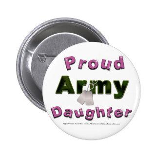 Botones orgullosos de la hija del ejército pin redondo de 2 pulgadas