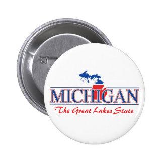 Botones patrióticos de Michigan Pin Redondo De 2 Pulgadas